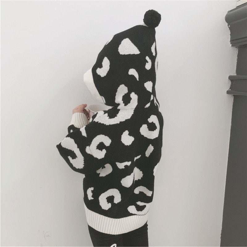 Cotton Leopard Print Casual Matching Sweater For Mom