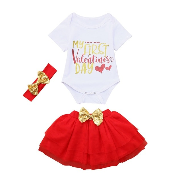 6118468fe760 Newborn's Valentine Day Outfit White Tops+red Tutu Tulle Skirt set ...