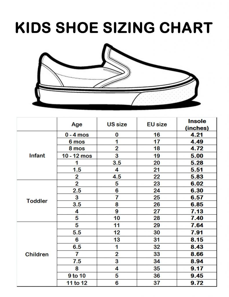 kids shoes size chart